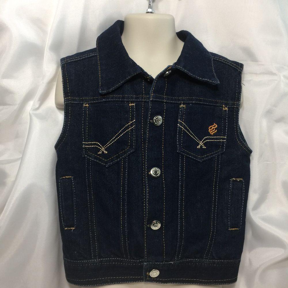 0509518de Rocawear Denim Vest Jacket 3T Sleeveless Gold Logo Snap Up Jean ...