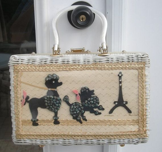 Vintage Poodles in Paris White Wicker Princess Charming by Atlas Handbag Hollywood Florida