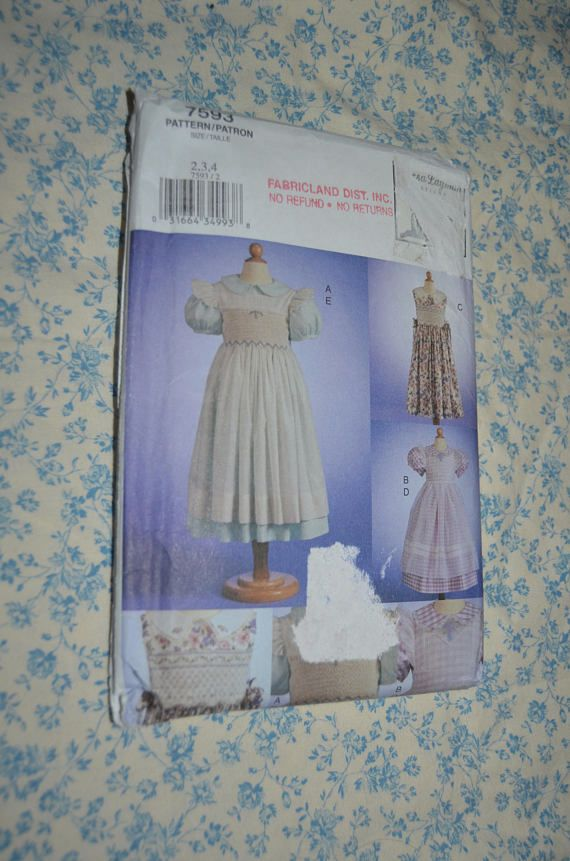 Vogue 7593 CHildrens Dress and Pinafore Sewing Pattern - UNCUT ...
