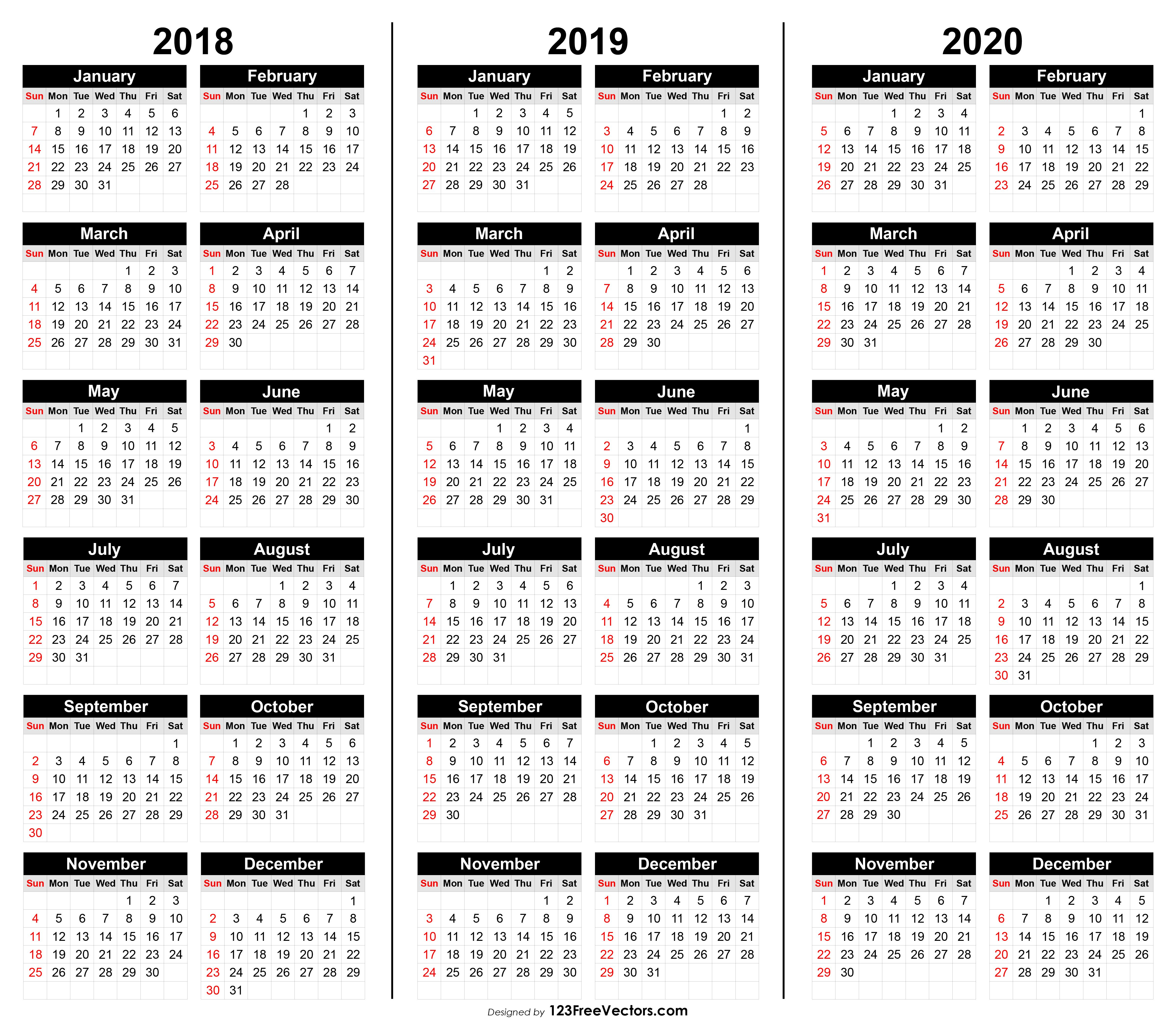Free 3 Year Calendar 2018 2019 2020 In 2020 Calendar 2018 Calender Template Printable Yearly Calendar