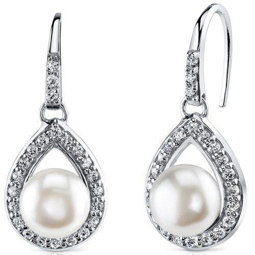 Halo Style Freshwater White Pearl Earrings Sterling Silver  #DropDangle