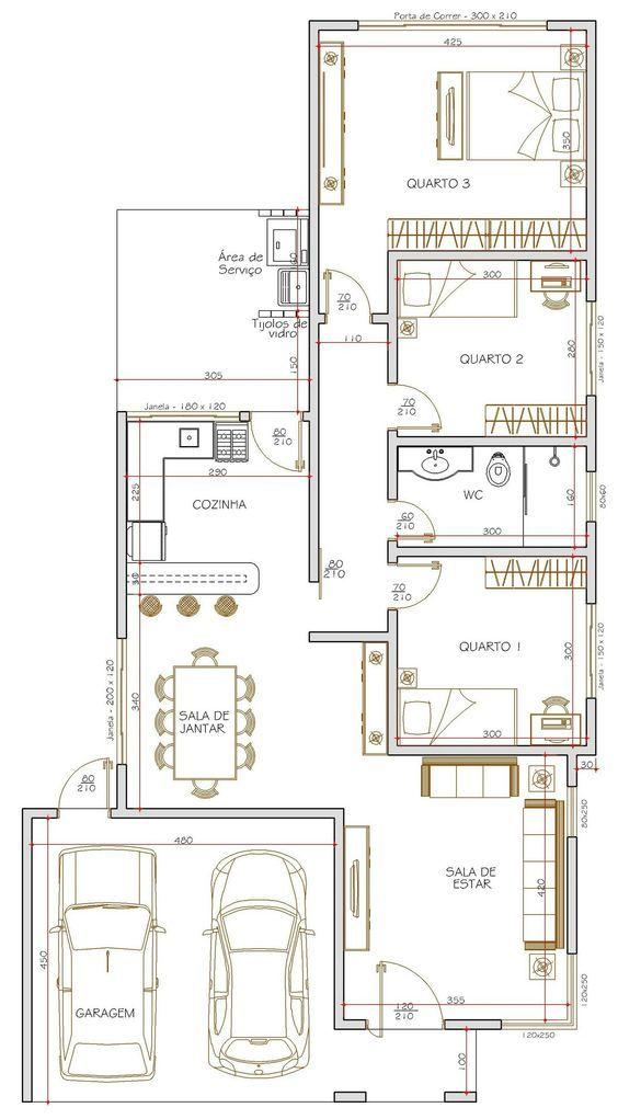 Projeto de casa térrea de 3 quartos com 11500m² CASAS DE MADERAS