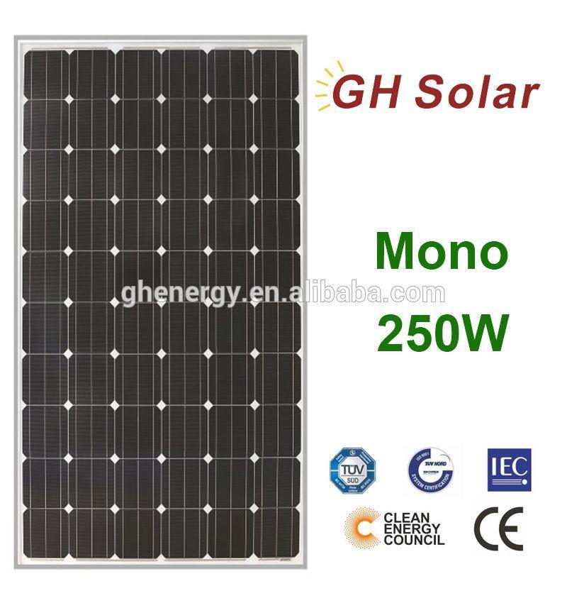 Gh Solar 1 High Quality 34 9v 250w Monocrystalline Solar Panel For Solar System Solar Heating Solar Panels Best Solar Panels