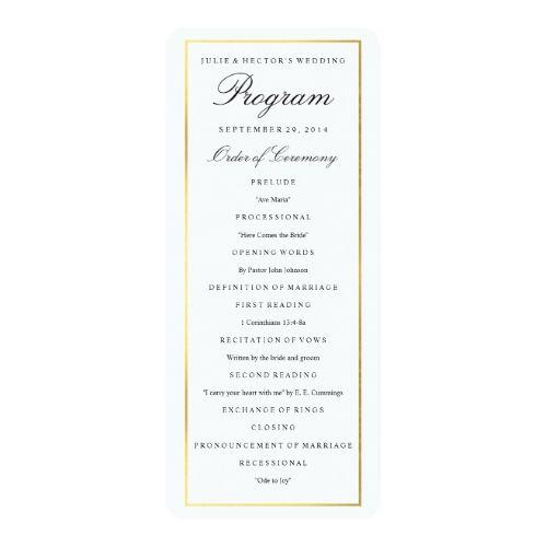 elegant gold border wedding program template pinterest program