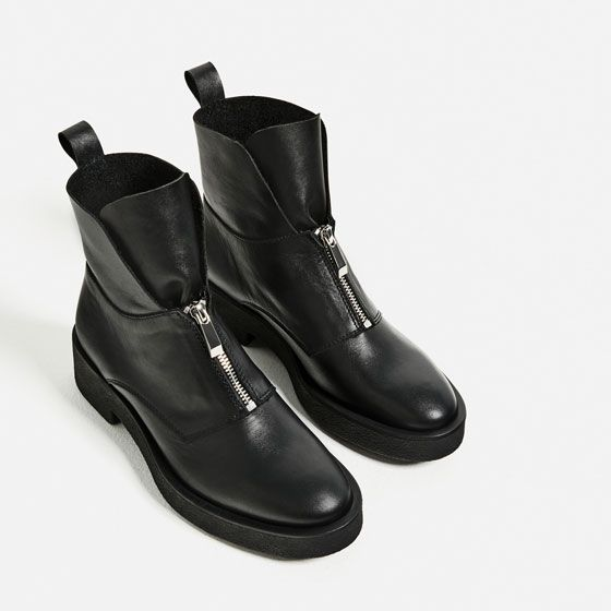 3cc97ee91e5a Image 6 of LEATHER ANKLE BOOTS WITH ZIP from Zara