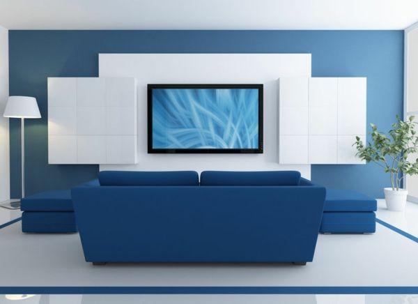 Faszinierende Tv Wand In Weiss Und Blau Wohnzimmer Modern Tv Wall