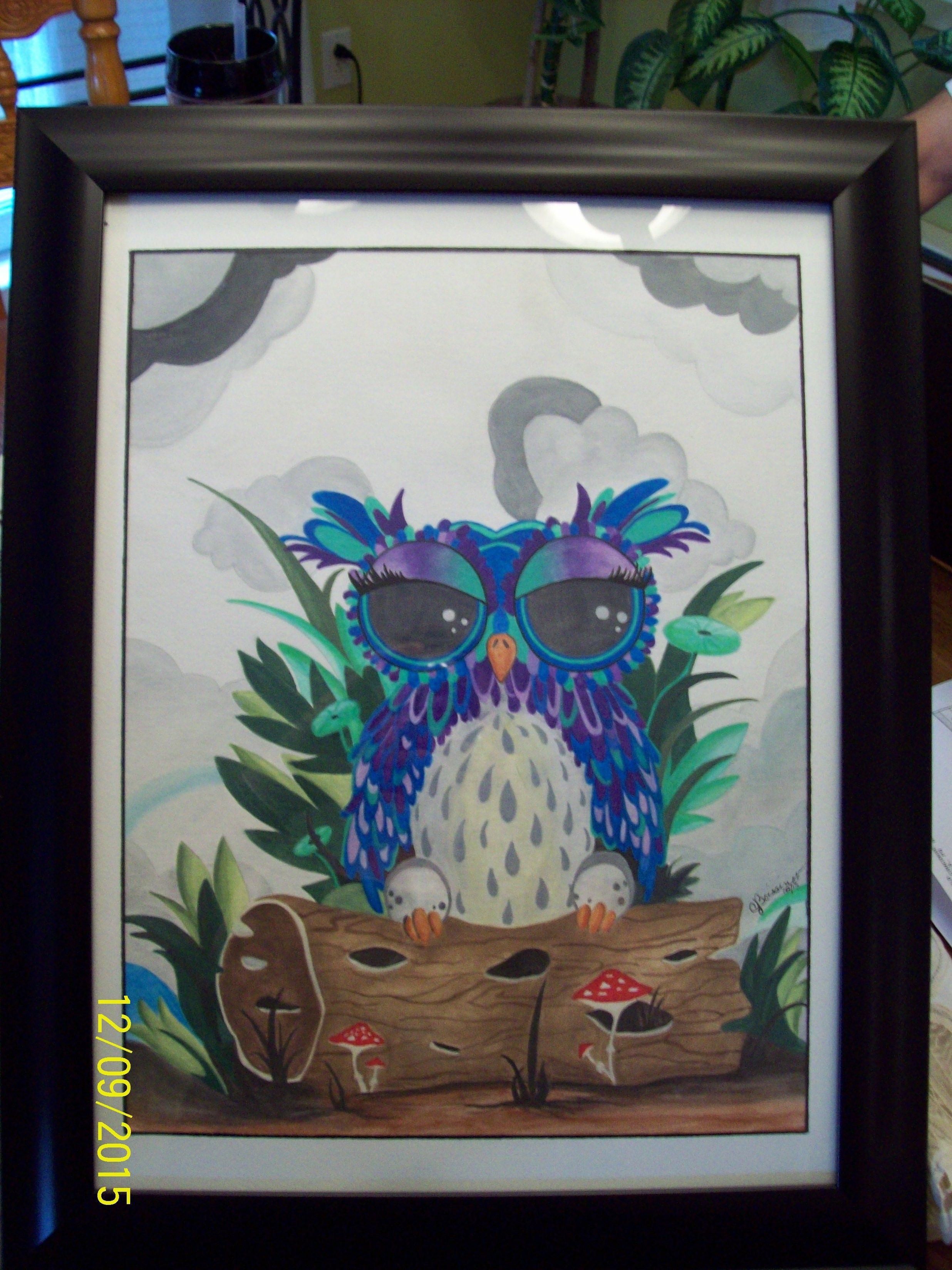 Hibou Sur Buche Aquarelle Avec Crayons Watercolor Faber Castell