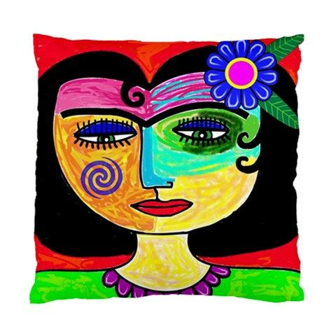 Picasso Style Woman With Black Hair Art Cushion Cover Picasso Style Art Pillow Art