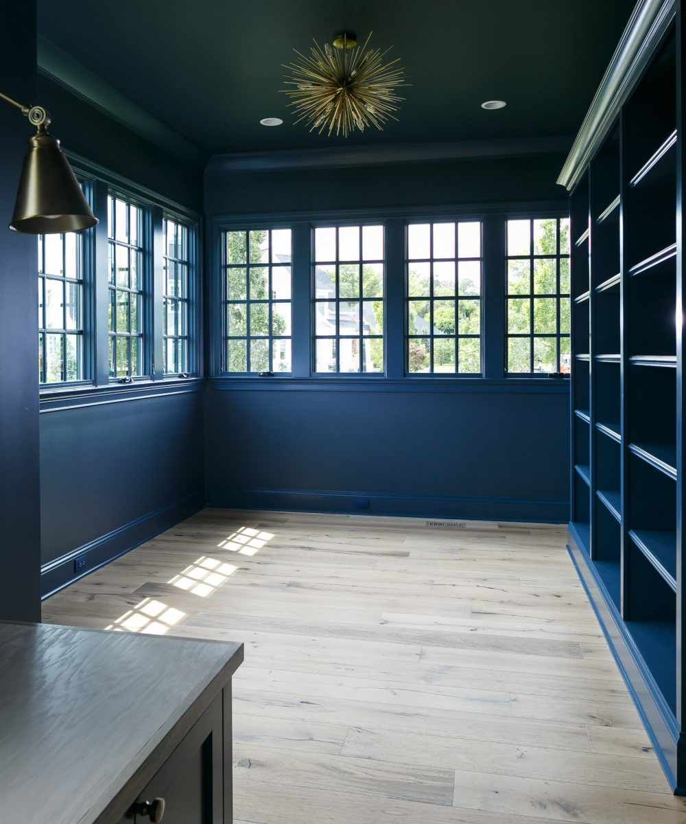 Gentleman S Blue By Benjamin Moore Walls Ceilings Trims And Bookcases All Painted In The Same Color Full Wall Of Wind Ceiling Trim Wall Trim Window Trim