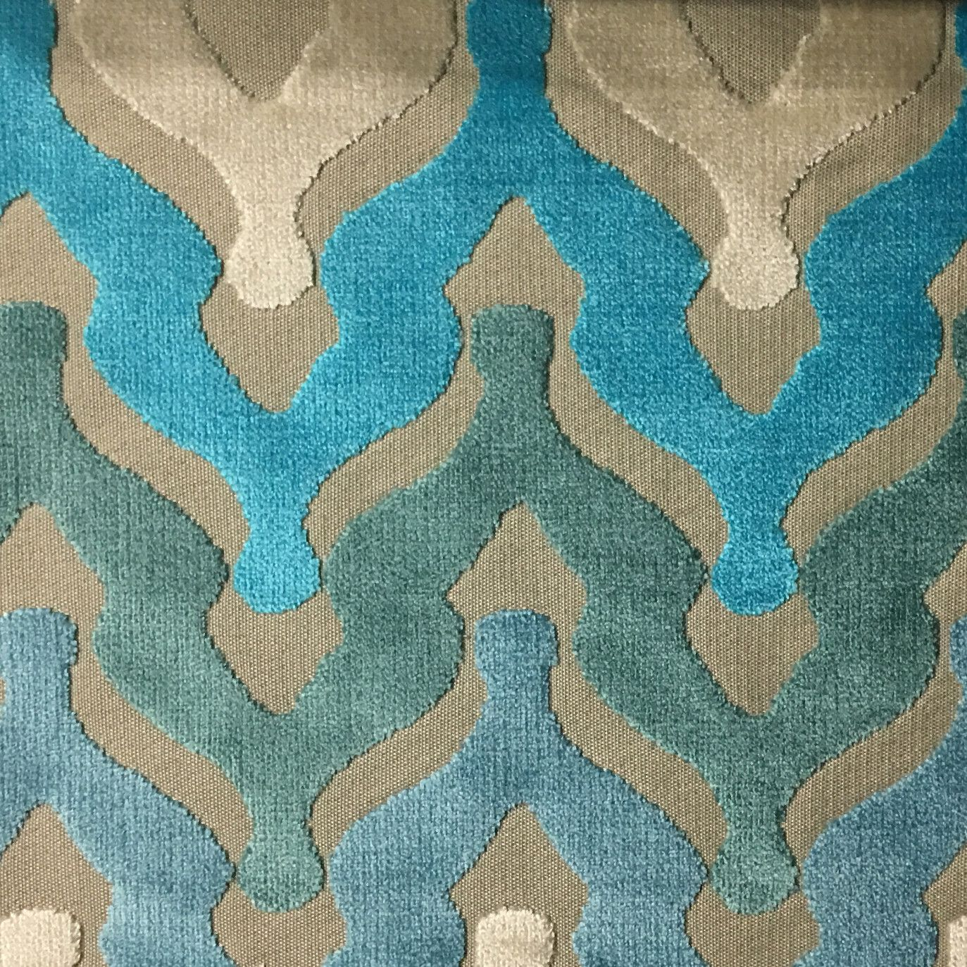 Chevron Cut Velvet Upholstery Fabric