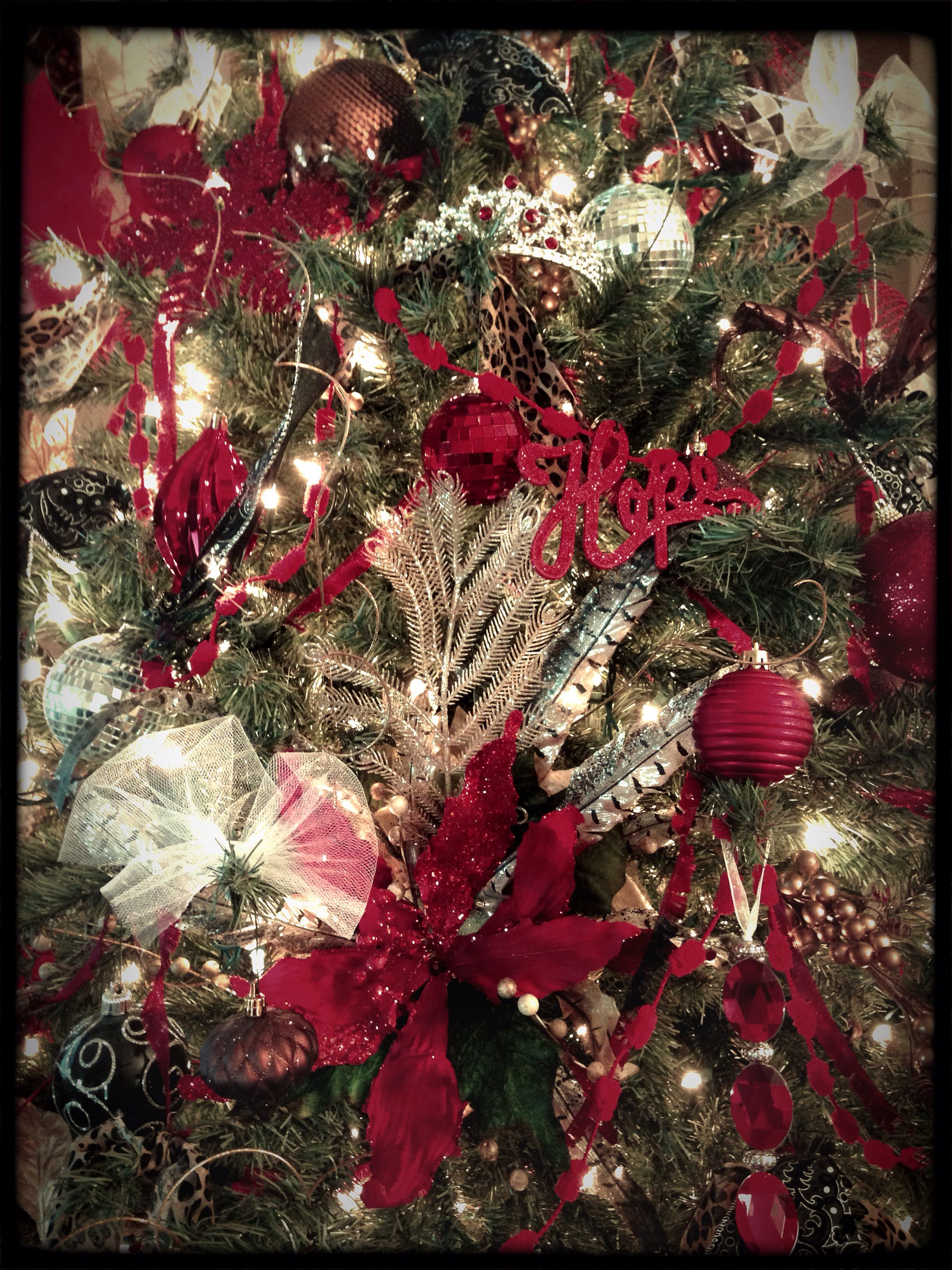 Non-Traditional Christmas Tree... Red, Black, Brown, White, Silver ...