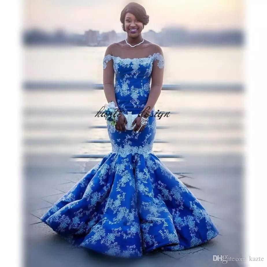 Royal Blue Sexy Nigerian Mermaid Evening Party Dresses -9026