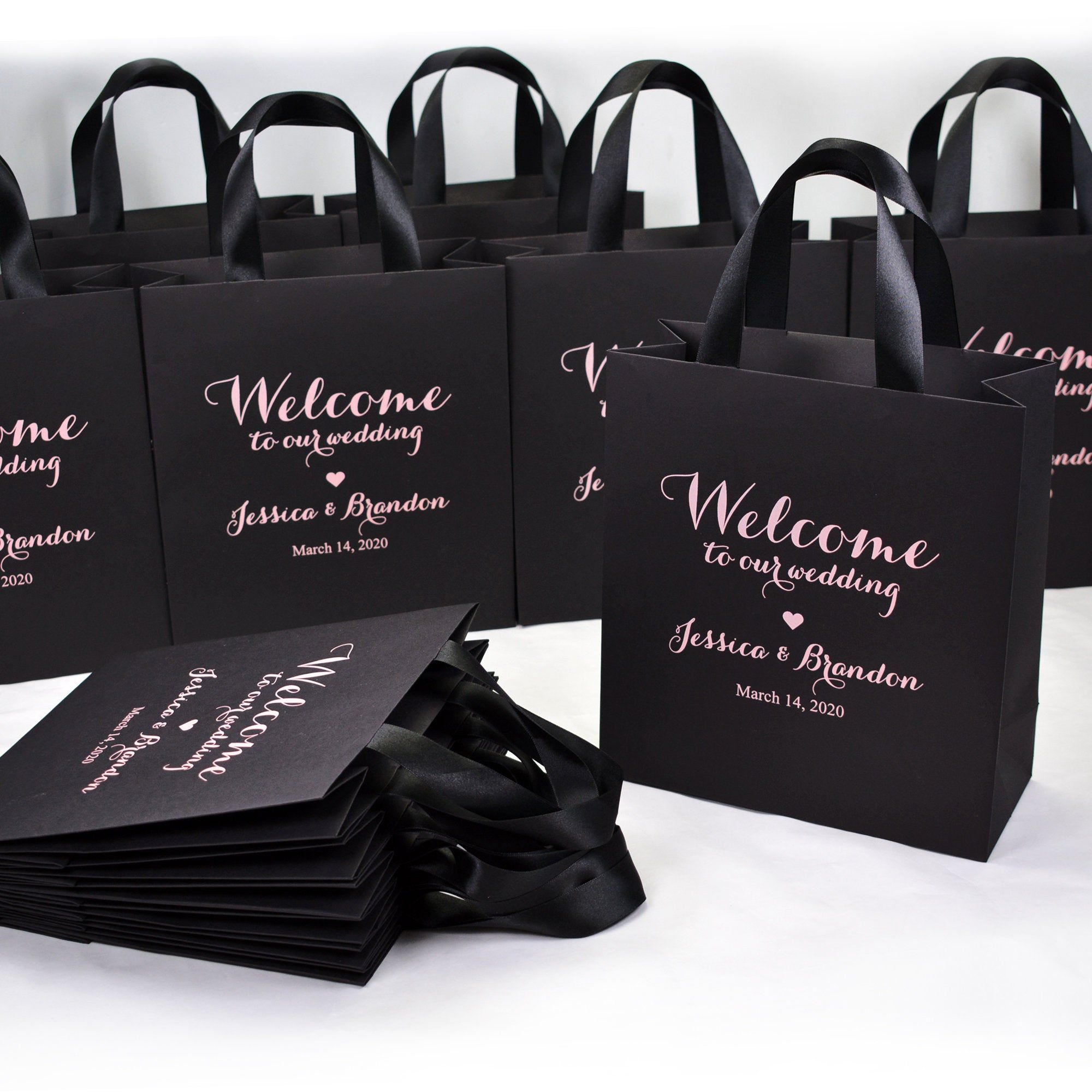 25 black blush wedding bags for favor for guests