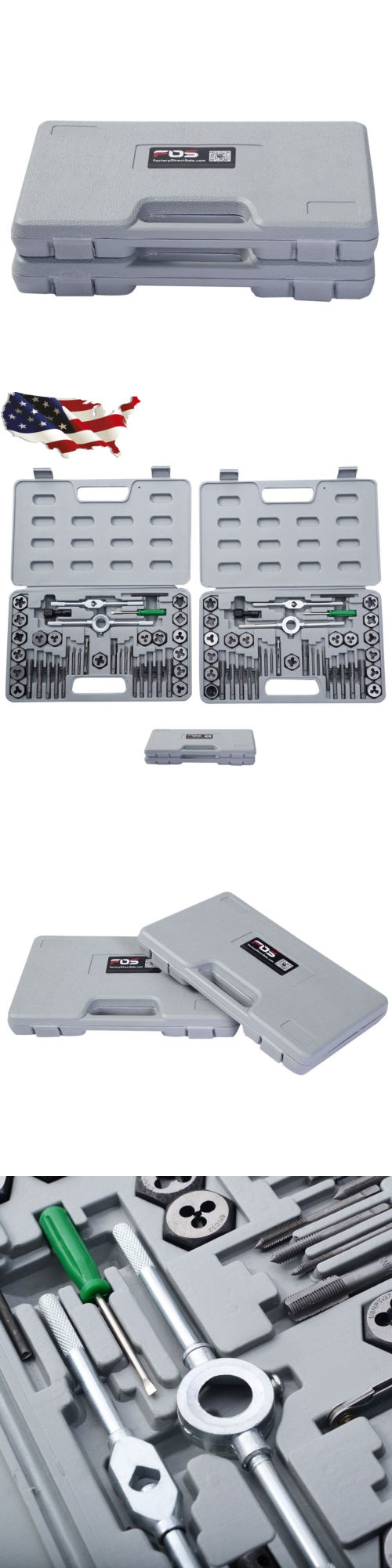Taps and dies cases hand tools pieces tap hex die tool kit