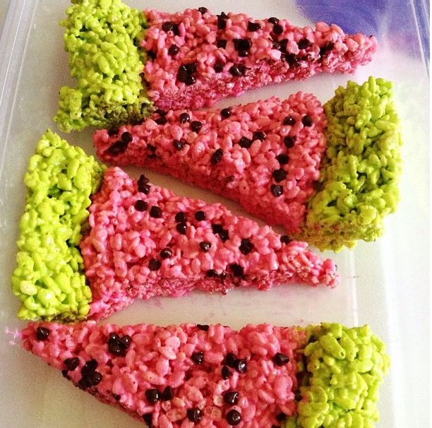 Watermelon Rice Krispie treats! Pink and lime green food coloring ...