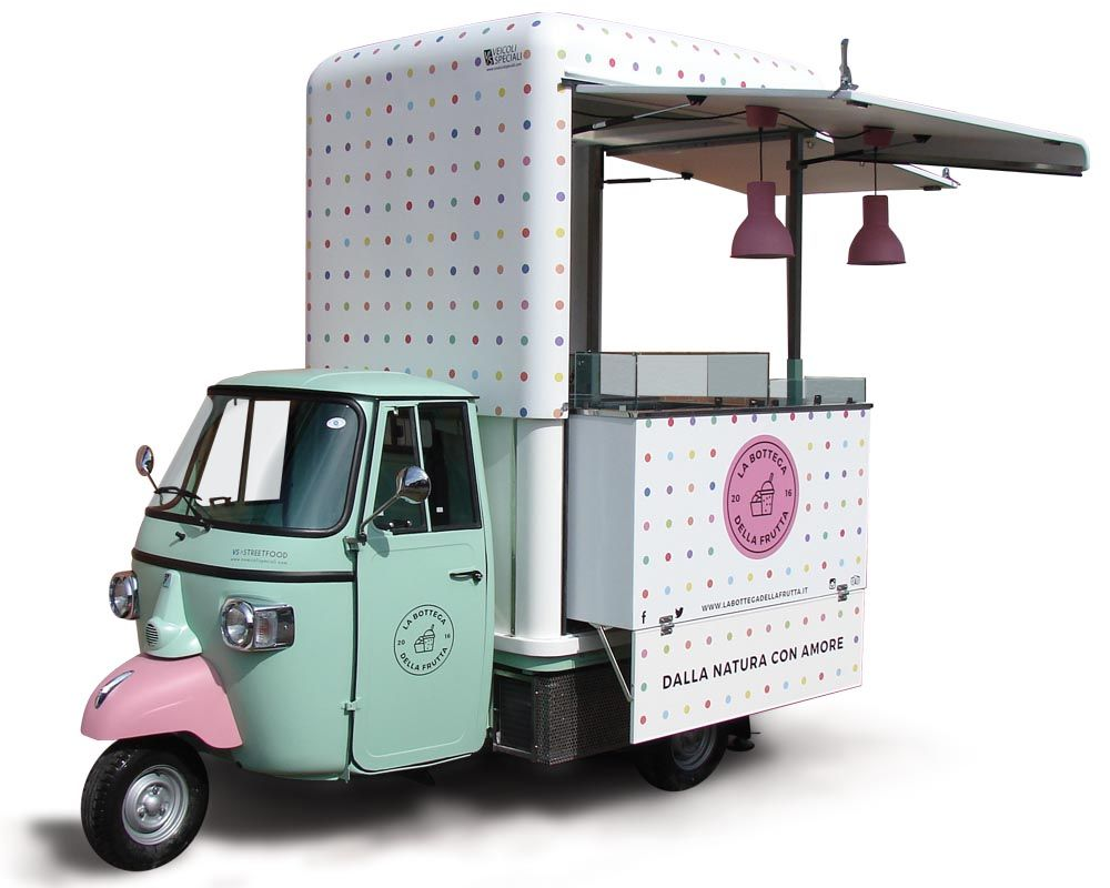 V-Curve® Piaggio Ape Car for fresh drinks selling. Van designed to ...