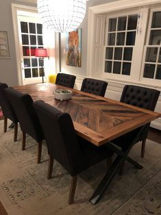 Reclaimed Oak Dining Table with Steel X Legs | Che