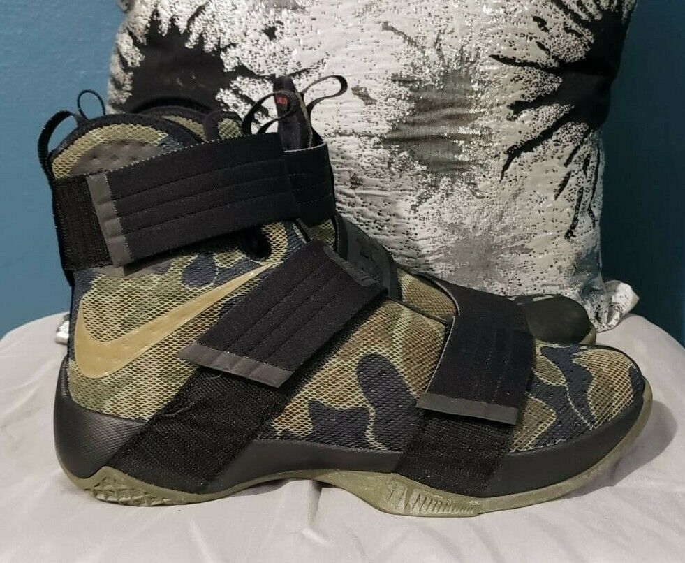 c6bced8e41a LeBron Zoom Soldier 10 SFG Camo Black Medium Olive Green-Green Bamboo Size 9
