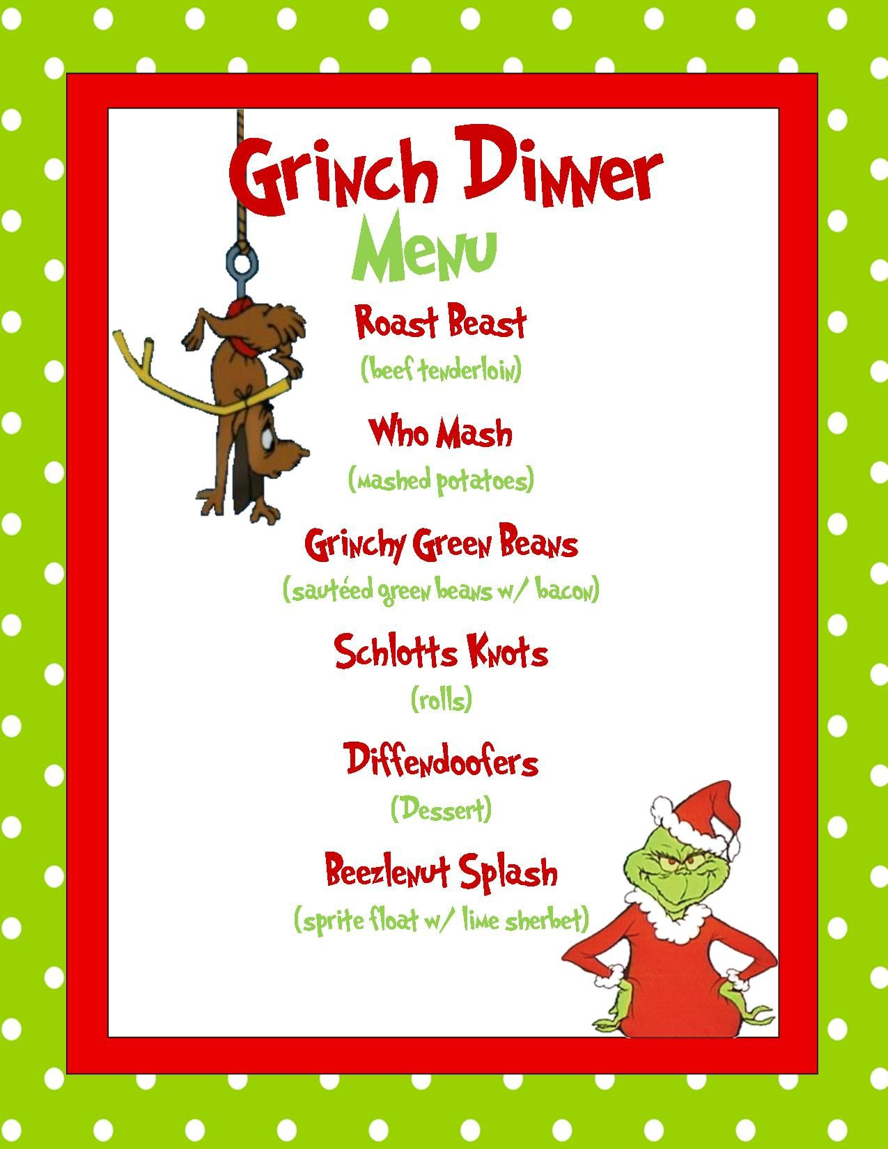 grinch dinner menu sample made in microsoft publisher