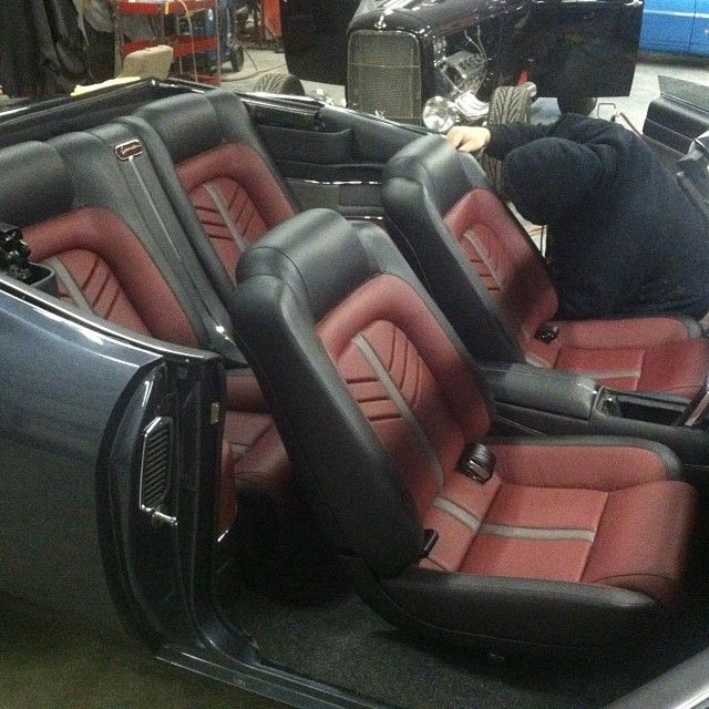 70 chevelle convertible #BecauseSS custom interior burgundy black and grey. red door panels console aluminum chrome