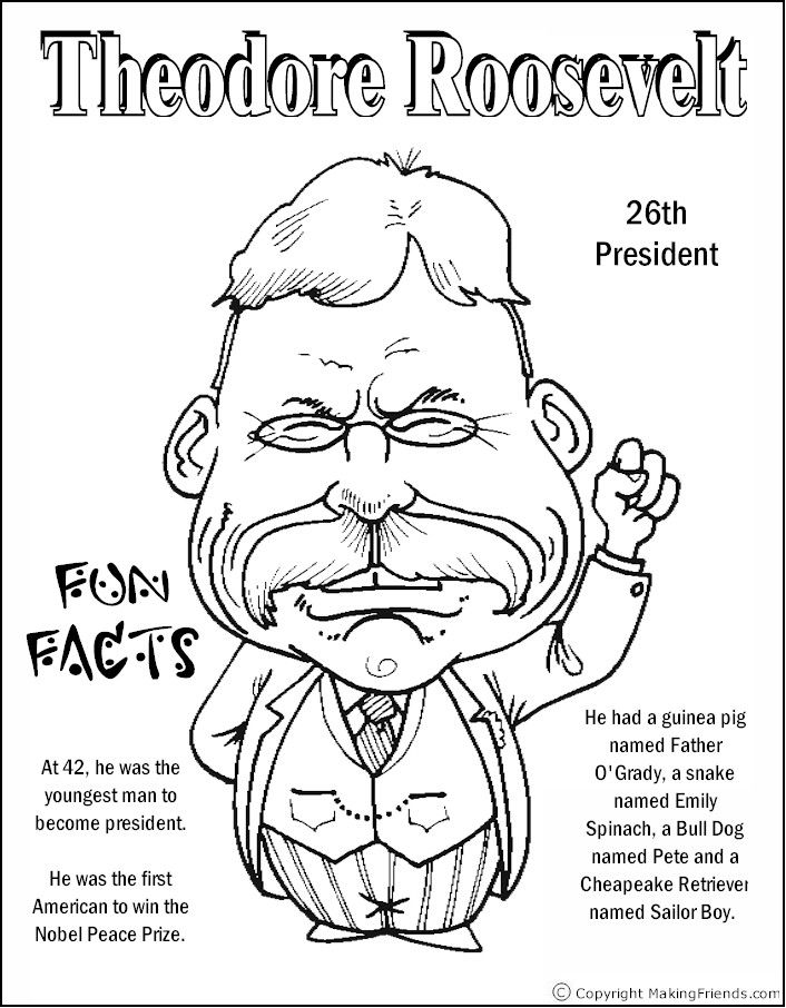 Theodore Roosevelt Coloring Page Coloring Pages Pinterest
