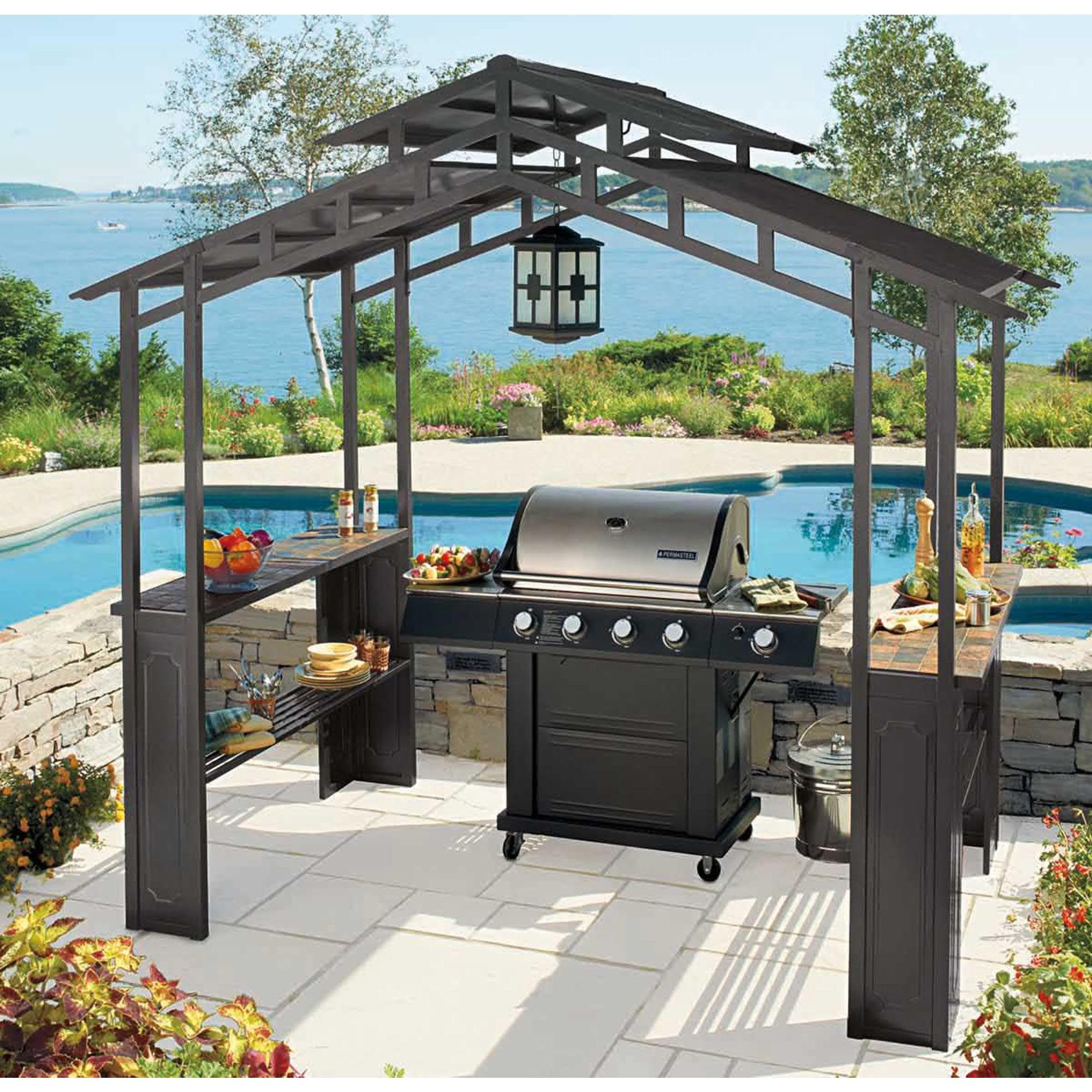 Living Home Outdoors Aluminum Hardtop Grill Gazebo