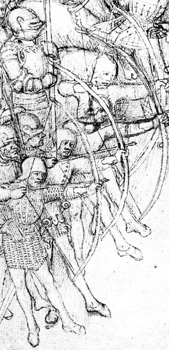 Archers - unarmoured legs in hose (probably joined) and shoes; mail shirts with brigandine/jack of plate (front figure) and a possible livery coat (second figure); open sallets, arrows at ready in belt, swords at left hip. Left arms show detail of bracers. Men with ?spears behind archers have visored sallets. Mounted man behind them has armet helmet and full plate harness and is carrying a lance; he apparently wears nothing over his armour (from the Beauchamp Pageant)