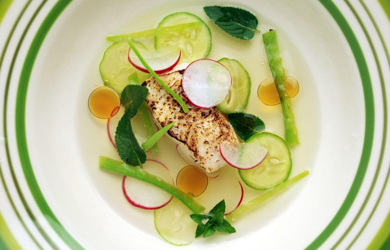 Dashi swordfish overhead green corporate anniversary dinner