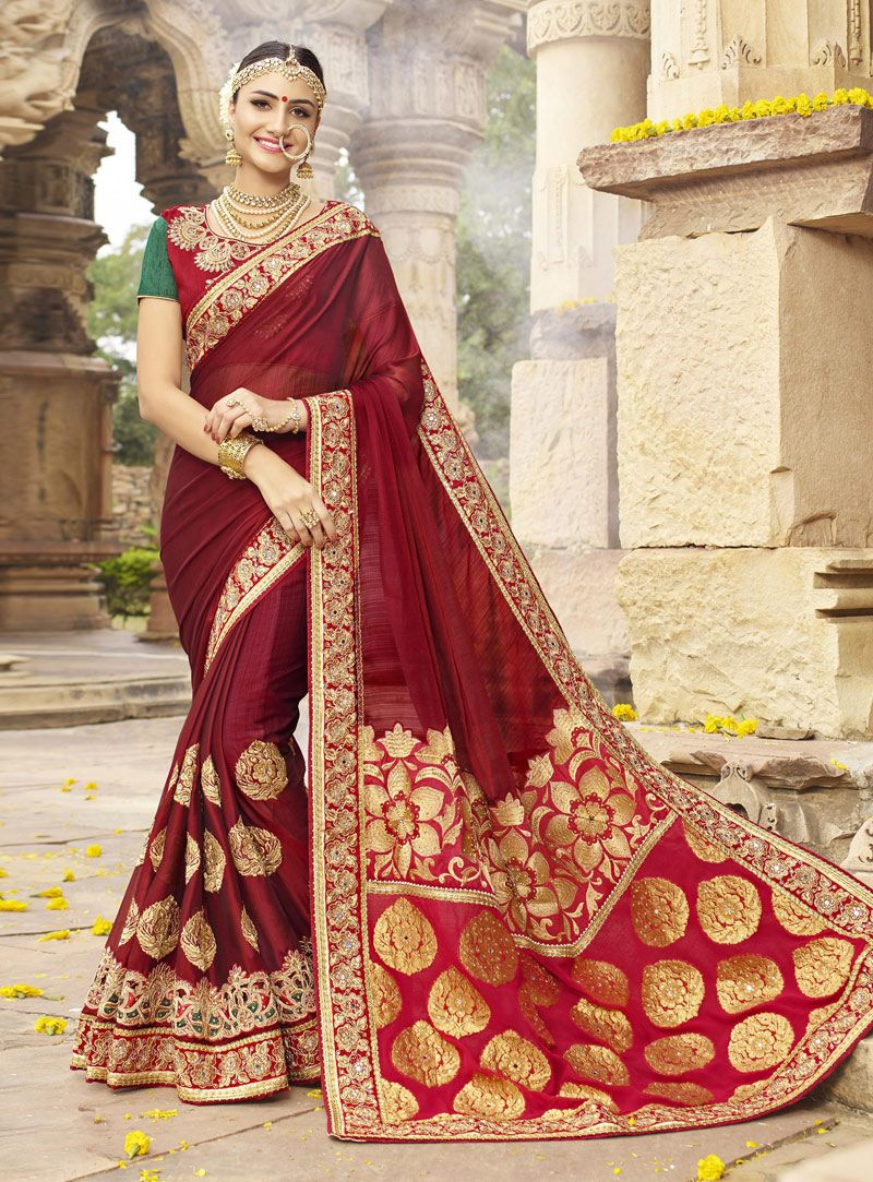 7e2b3650e5 Buy Maroon Satin Silk Saree With Blouse 121428 with blouse online at lowest  price from vast collection of sarees at m.indianclothstore.c.