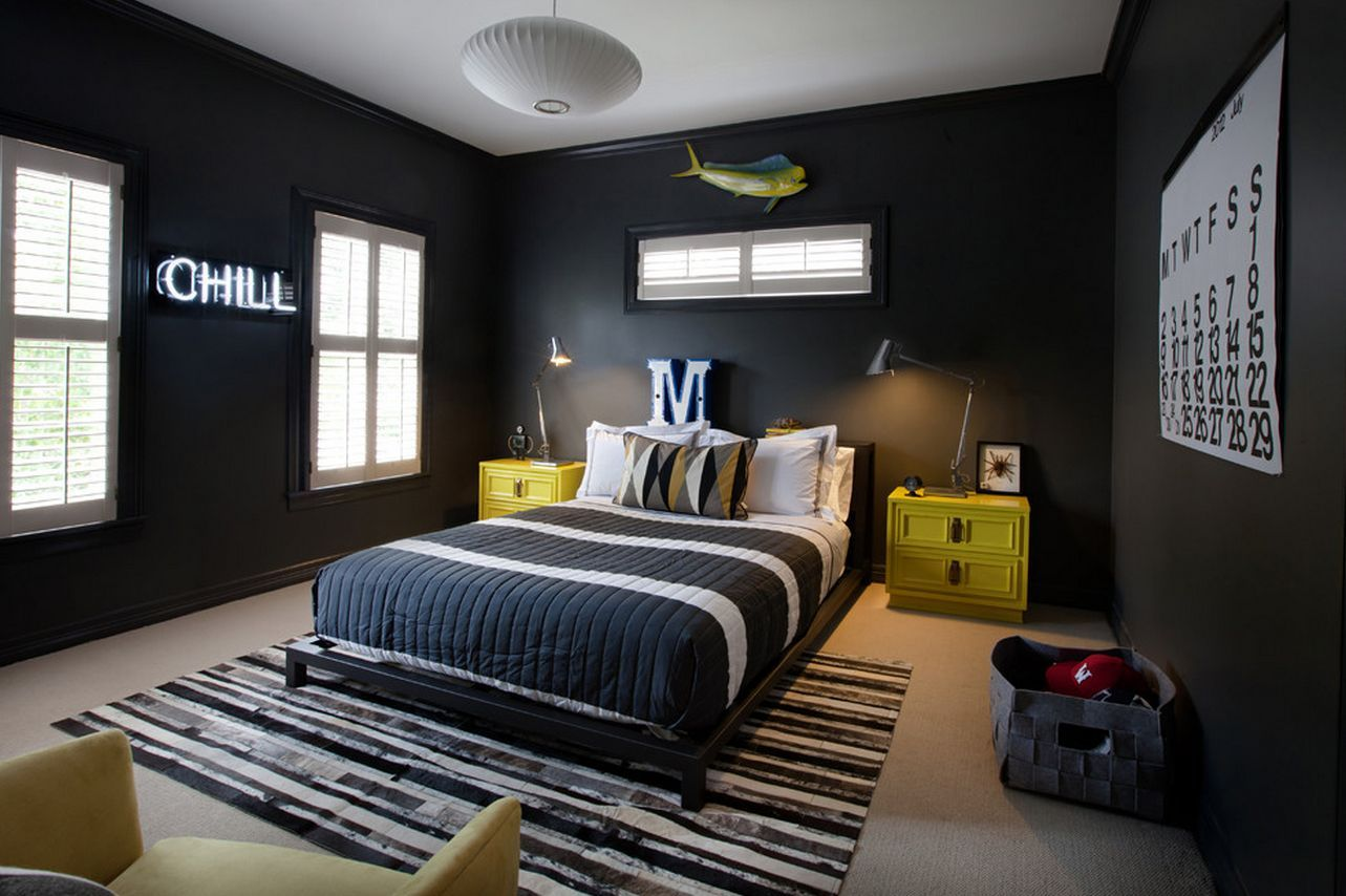 Mesmerizing Black Cool Bedroom Ideas For Guys With Yellow Wooden