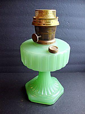Aladdin Corinthian Ptn Lamp Jadeite Green Antique Oil