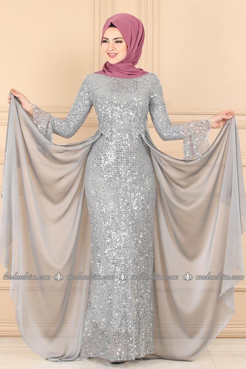 Moda Selvim Pul Payetli Balik Abiye Pn2028 Gri Elbiseler Elbise Kiyafet