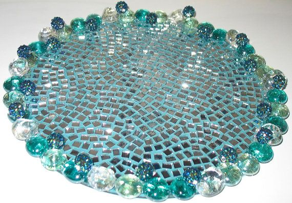 Gorgeous And Only One Available This 10 Inch Diameter Perfume Vanity Dresser Tray Is Designed With Small Individually Sea Glass Jewel Mirror Mosaic Mosaic