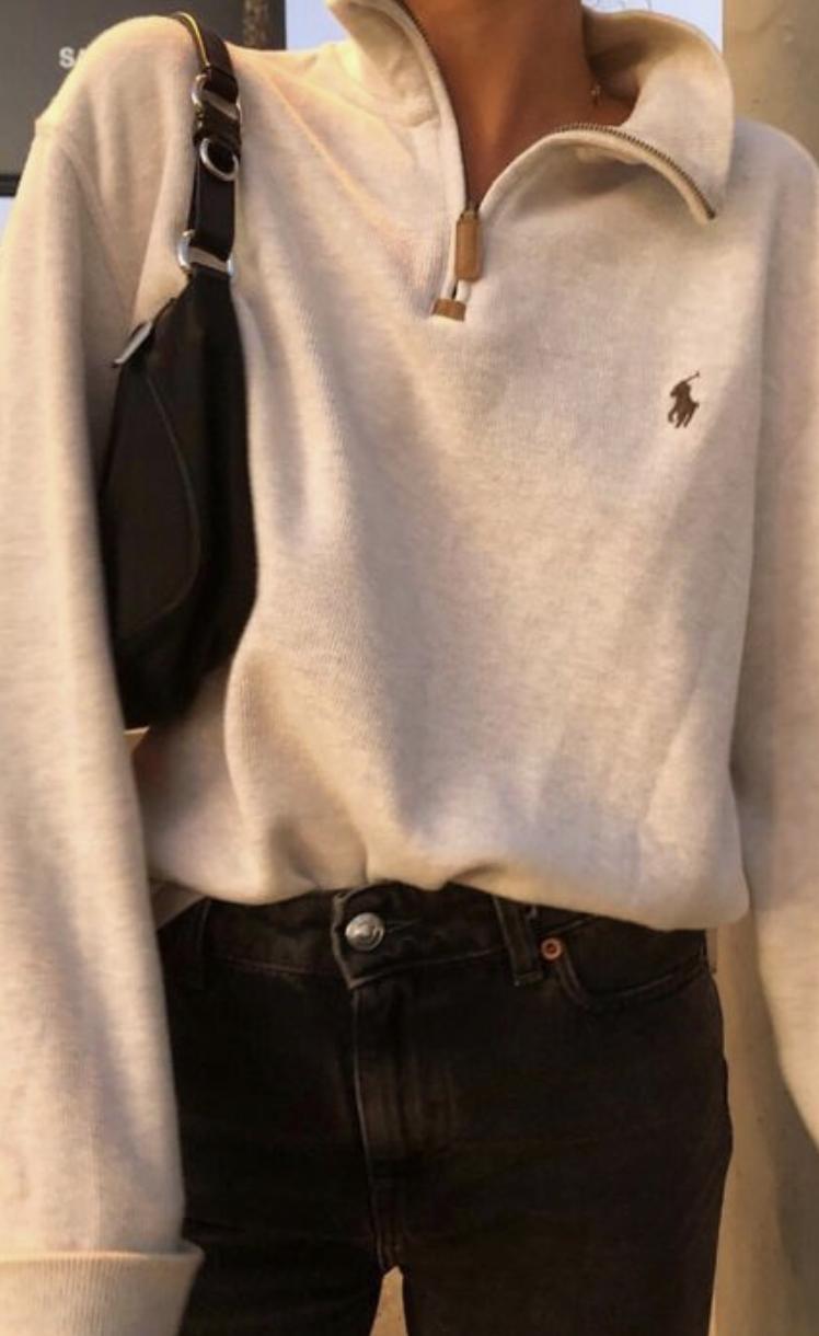 456dea6e58f9 polo half zip sweatshirt + black skinny jeans outfit + black shoulder bag