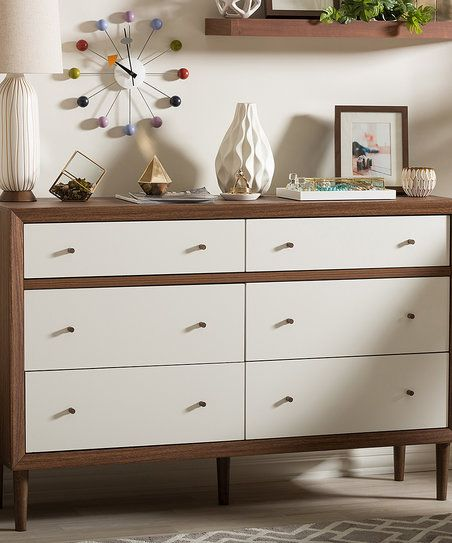 Baxton Studio White & Walnut Harlow Six-Drawer Dresser | zulily