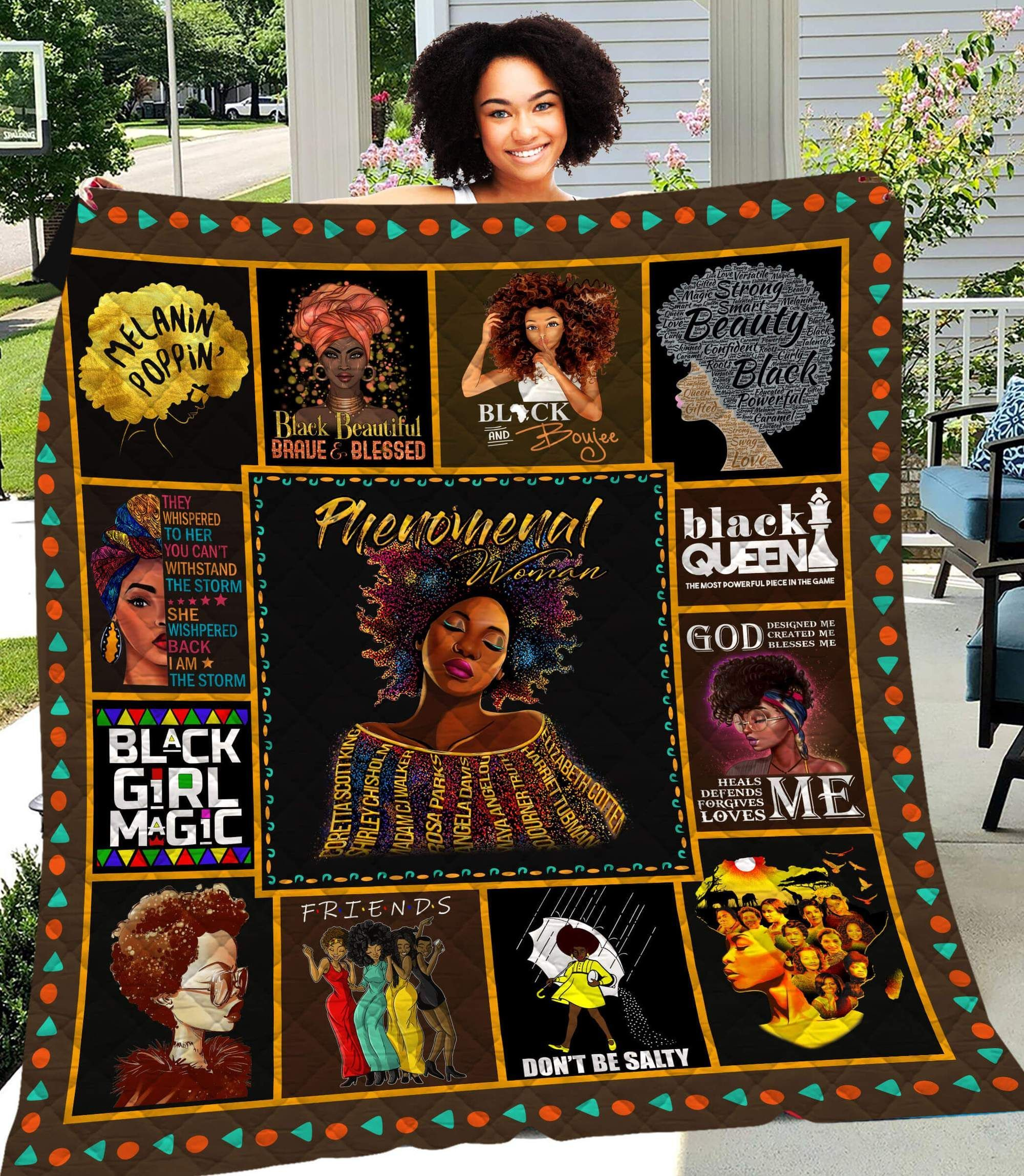 Phenomenal Women Afro Girl Magic CLM3110268 Quilt Blanket - Phenomenal Women Afro Girl Magic CLM31