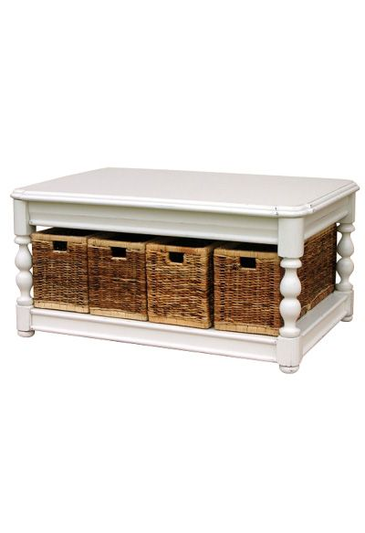 White coffee table with storage baskets a fabulous cottage style