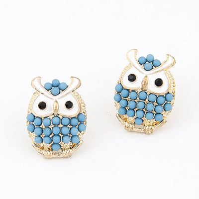 Blue owl earring  Also available in white  Ready stock and free normal mail in Singapore  www.cuteclozette.com