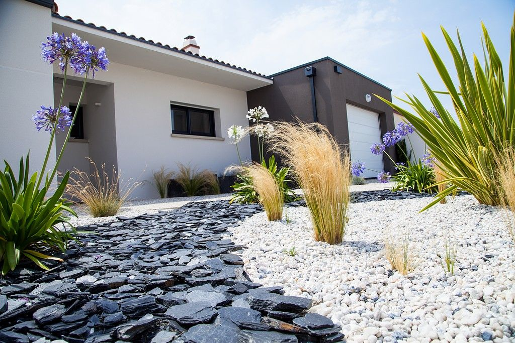 Massif paillage ardoises gravillons graminees agapanthes - Massif decoratif jardin ...