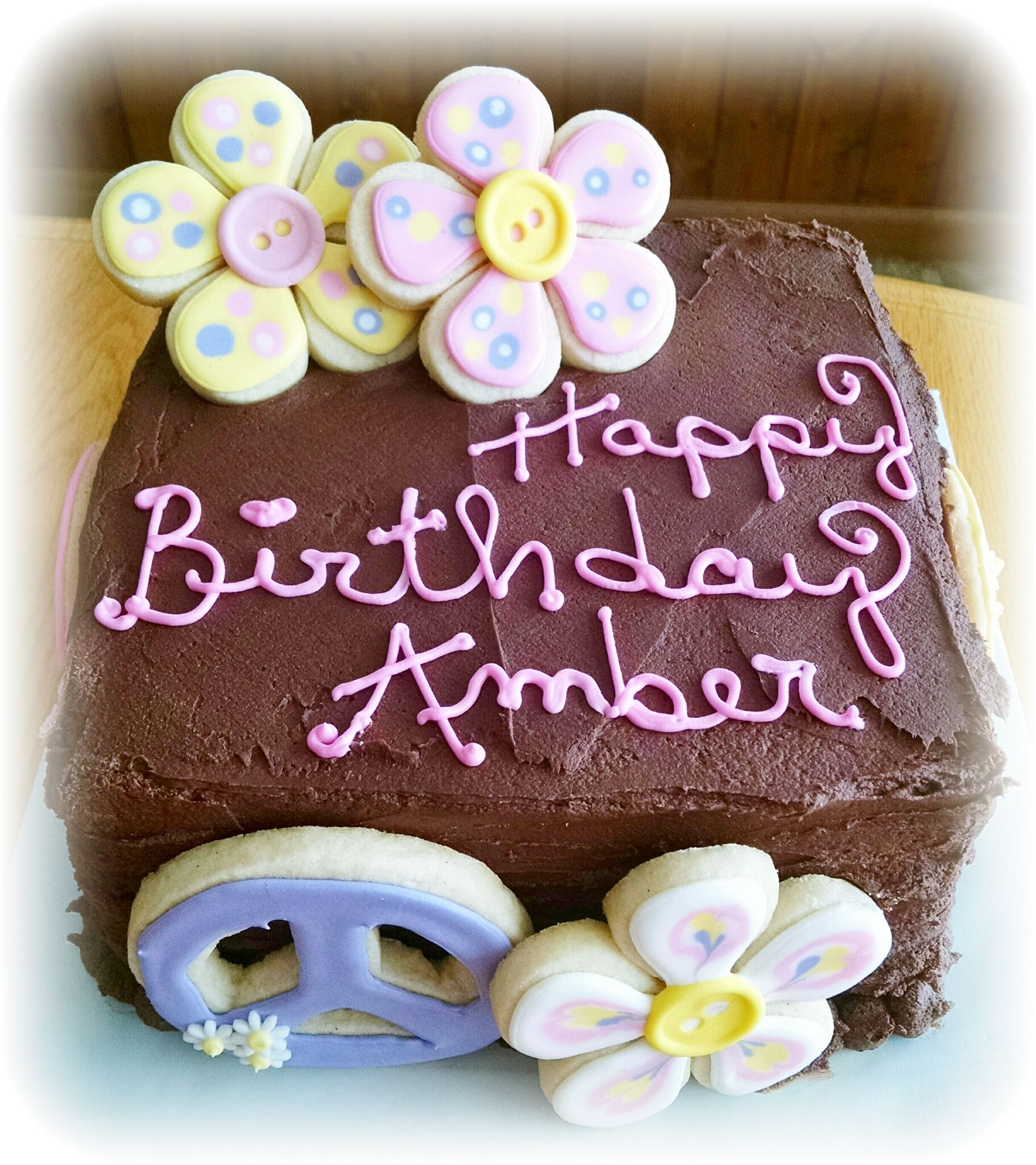 Happy Birthday cake with decorated cookies! Gourmet