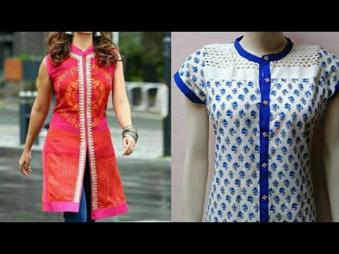 653ca6263 How To Cut And Stitch Open Slit Kurti With Chinese Collar - YouTube | 6