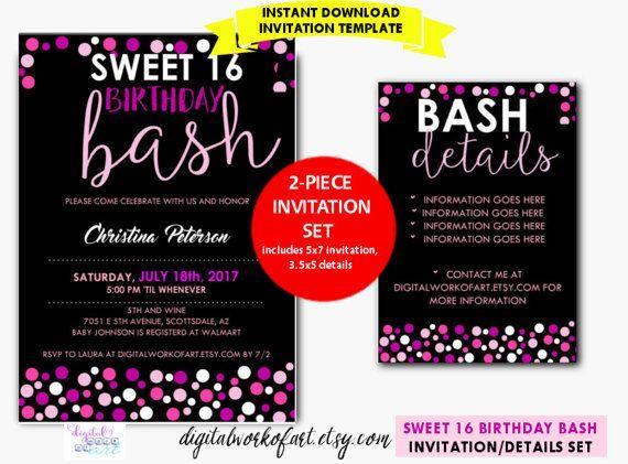 Sweet 16 Birthday Party Invitation Template DIY Editable 16th Digital