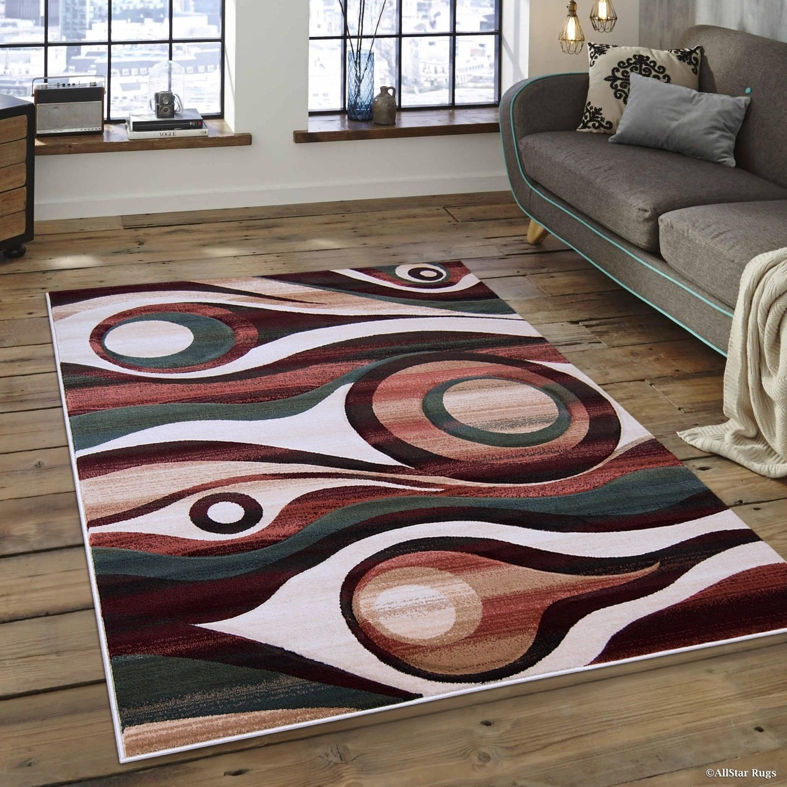 rug for living room size%0A Allstar Transitional Distressed Carved Circle Design Rug    u         X    u            Multi  Size   u     x    u      Polypropylene  Abstract