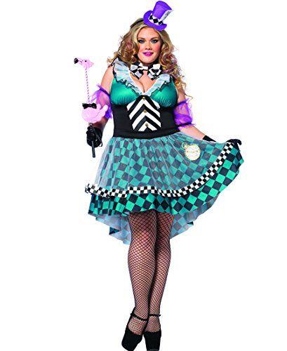 Leg Avenue 85227X Plus Size Manic Mad Hatter Halloween Costume - Black/Blue