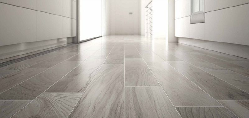 Beautiful Light Grey Wood Effect Ceramic Floor Tile Basement