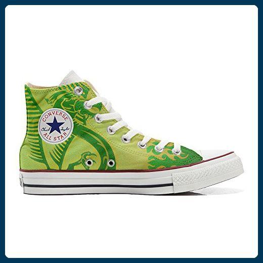 Converse All Star Hi Customized personalisierte Schuhe (Handwerk Schuhe) dragoner verde sfondo giallo