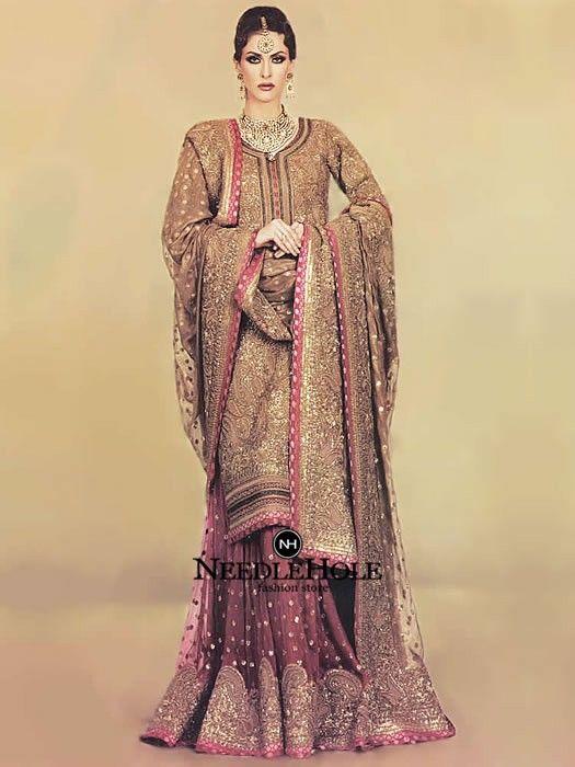 c2a647decf2e Beautiful Pakistani Designer Bridal Sharara Dress French Beige. Custom Made  Muslim Wedding Sharara Free Delivery Worldwide & Discount