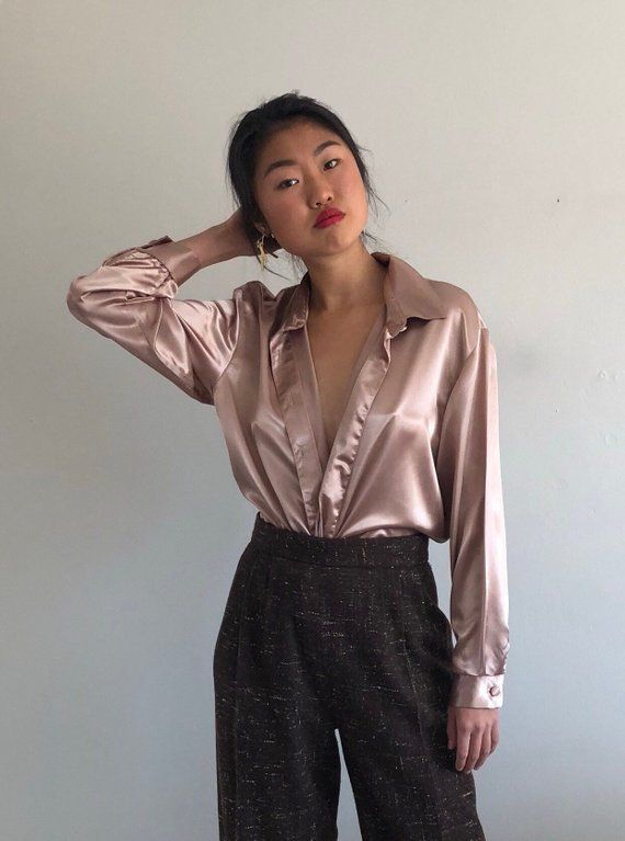 8f08eab7a 80s satin blouse champagne silky satin button down shirt / oversized pink  champagne satin blouse | L
