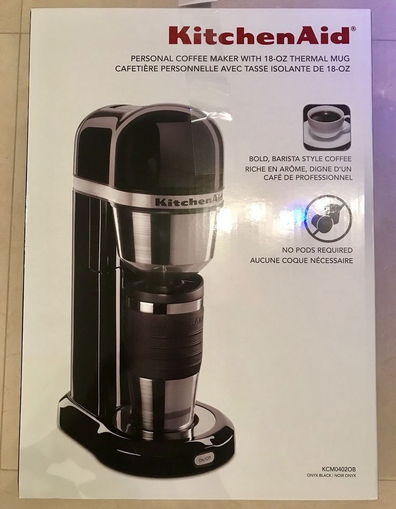 Kitchenaid Personal Coffee Maker W 18oz Thermal Mug Onxy Black
