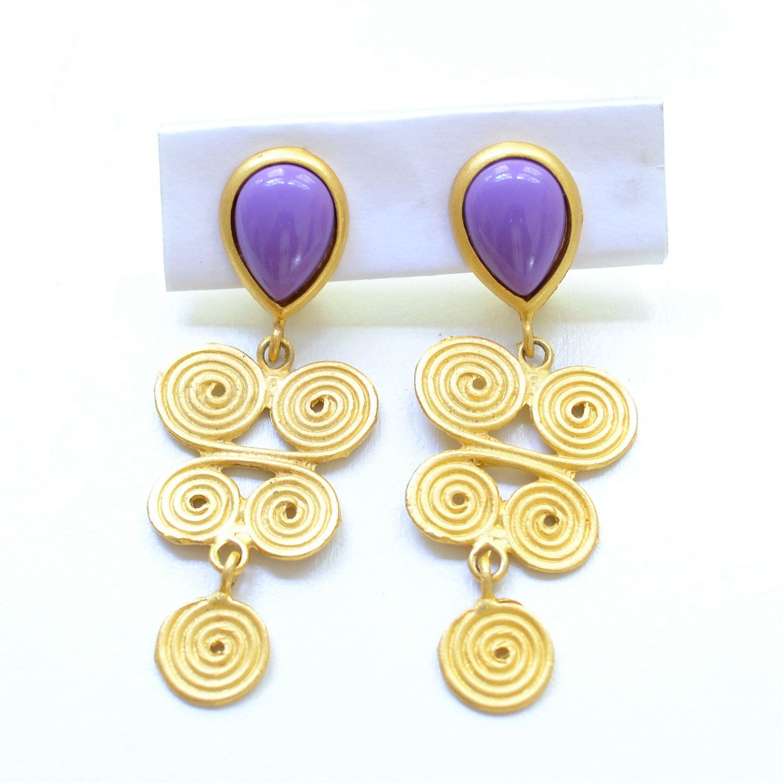 Vintage Purple Dangle Earrings Clip Chandelier Costume Statement Jewelry Large